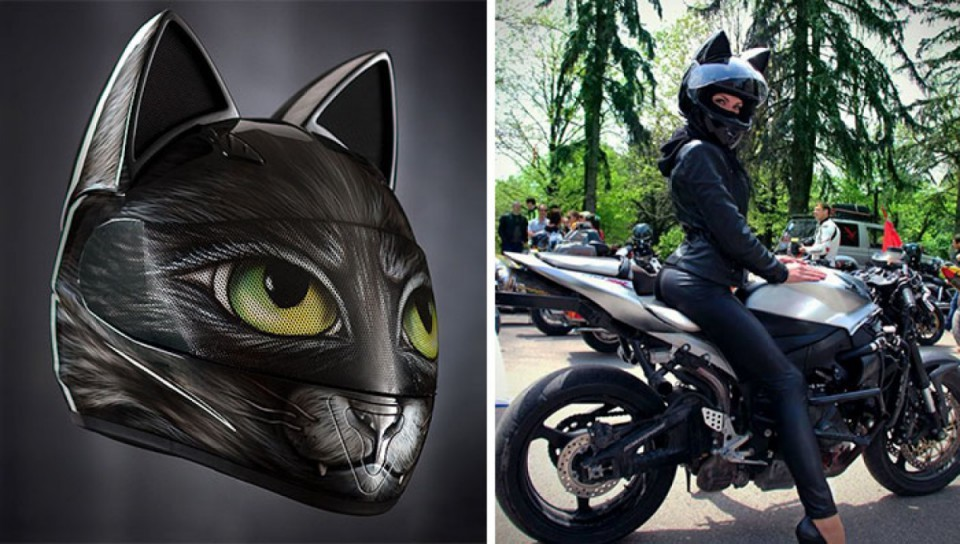 Casque moto oreille de chat